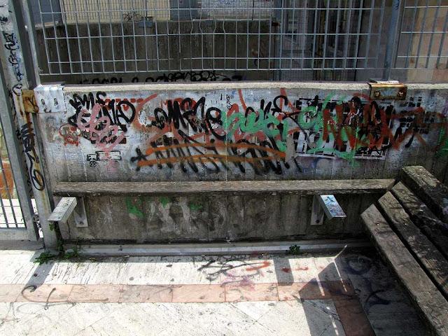 Dilapidated bench, piazza Attias, Livorno