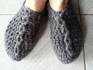 chunky cable crochet slippers. Alpaca