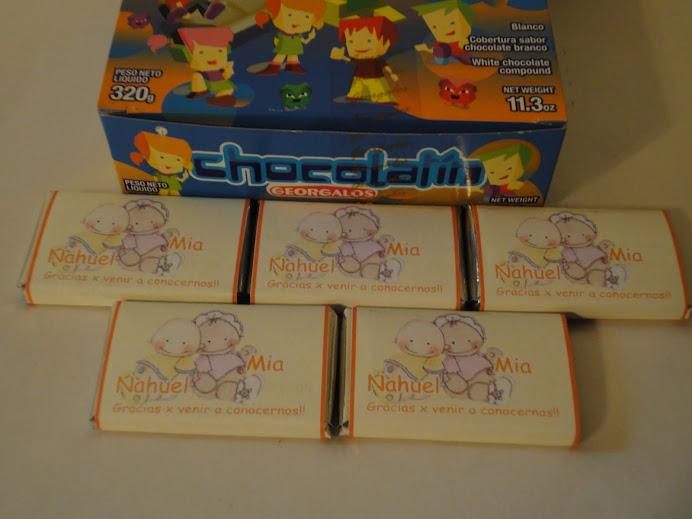 Chocolates Personalizados Nacimiento Mellizos