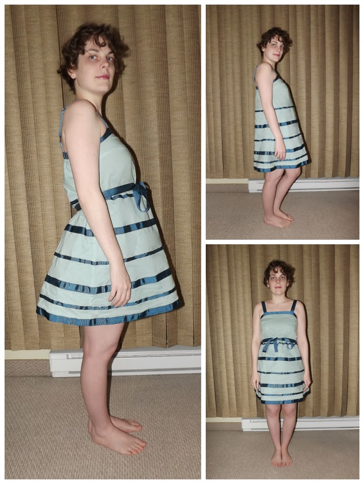 modcloth.com, Modcloth dress, Esley, Time For a Refresher Dress, light blue and navy striped dress, tie bow sash, summer dress, sky blue dress, modeled, modelled, worn by a person, with and without sash, unflattering dress, A Coin For the Well, Suzanne Amlin