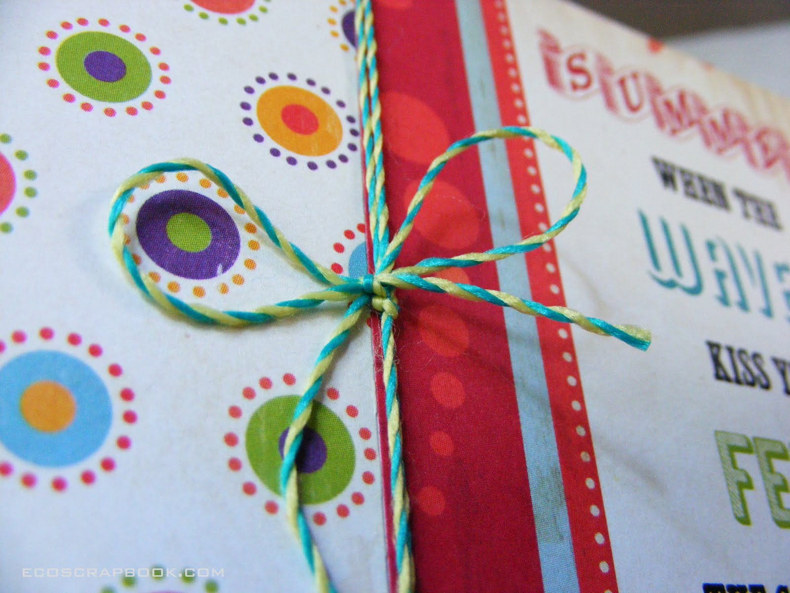 Recycle old greeting cards into party invitations ecoscrapbook the twine is by pink paislee a scrapbook company that offers cardstock printed with soy based ink m4hsunfo