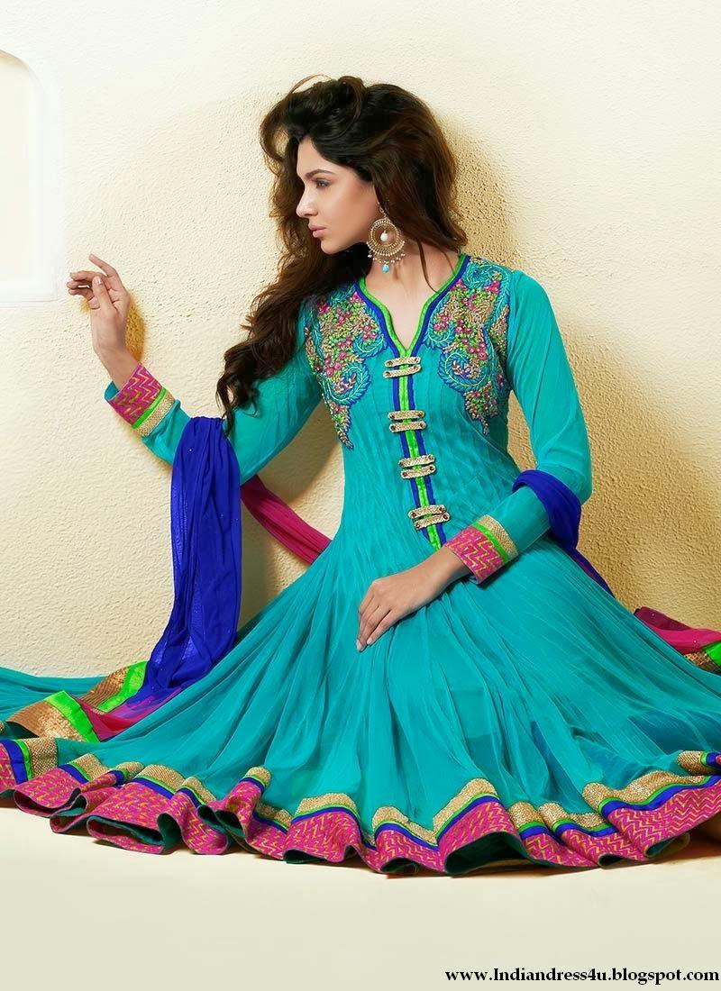 Latest anarkali frock suits designs 2014 beautiful indian dresses - Beautiful dizain image ...