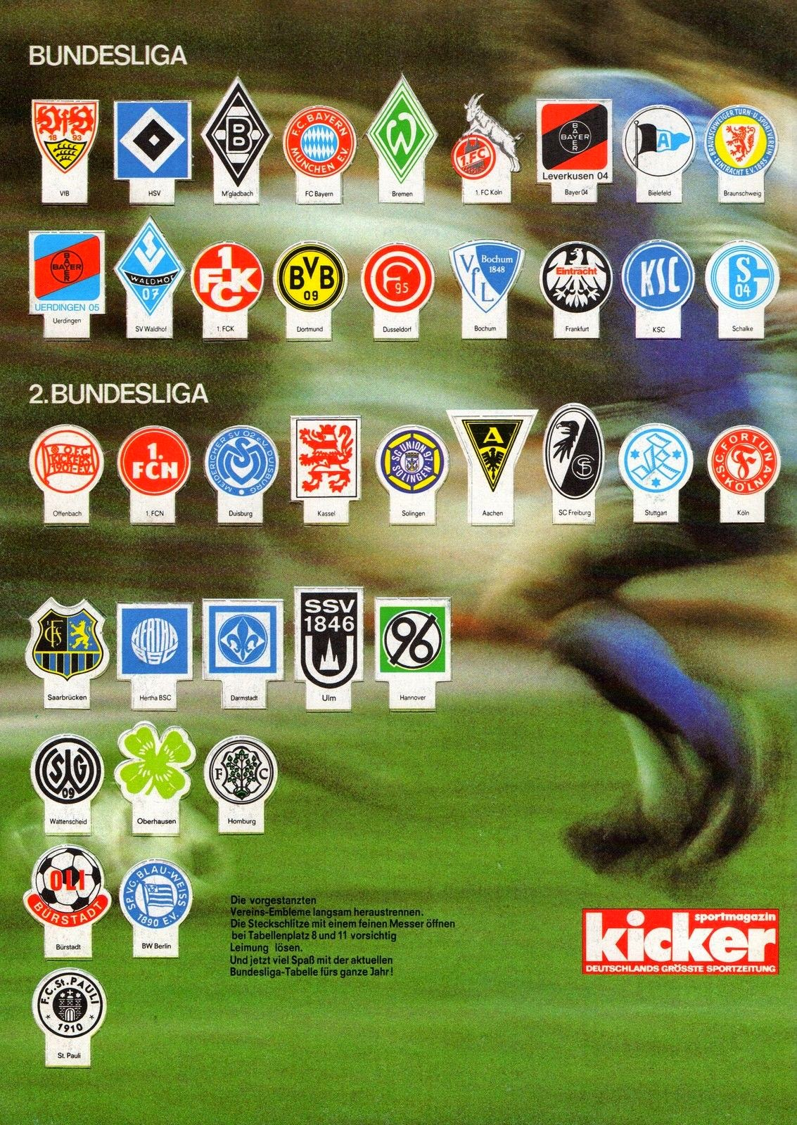 Football cartophilic info exchange kicker magazin for League two table 1984 85