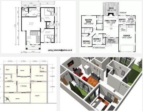 denah rumah sederhana 3 kamar tidur