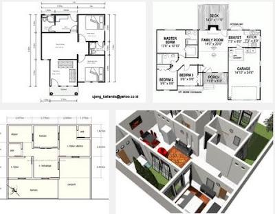 detail gambar denah rumah minimalis sederhana 3 kamar