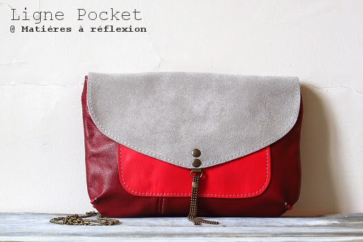 Petit sac rouge Matières à réflexion Pochette Pocket
