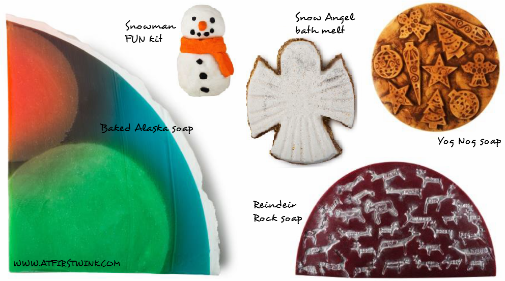 Lush Christmas 2014 collection: soaps, snowman FUN kit, and bath melt