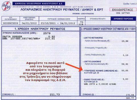 Tο τέλος για «υπηρεσίες κοινής ωφέλειας» που εισπράττει η ΔΕΗ με τους λογαριασμούς έχει καταργηθεί !