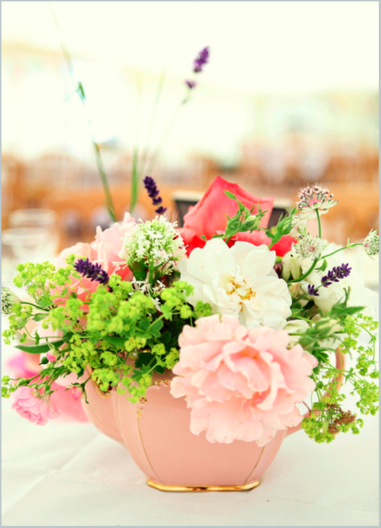 wild flowers in a pink vintage teapot
