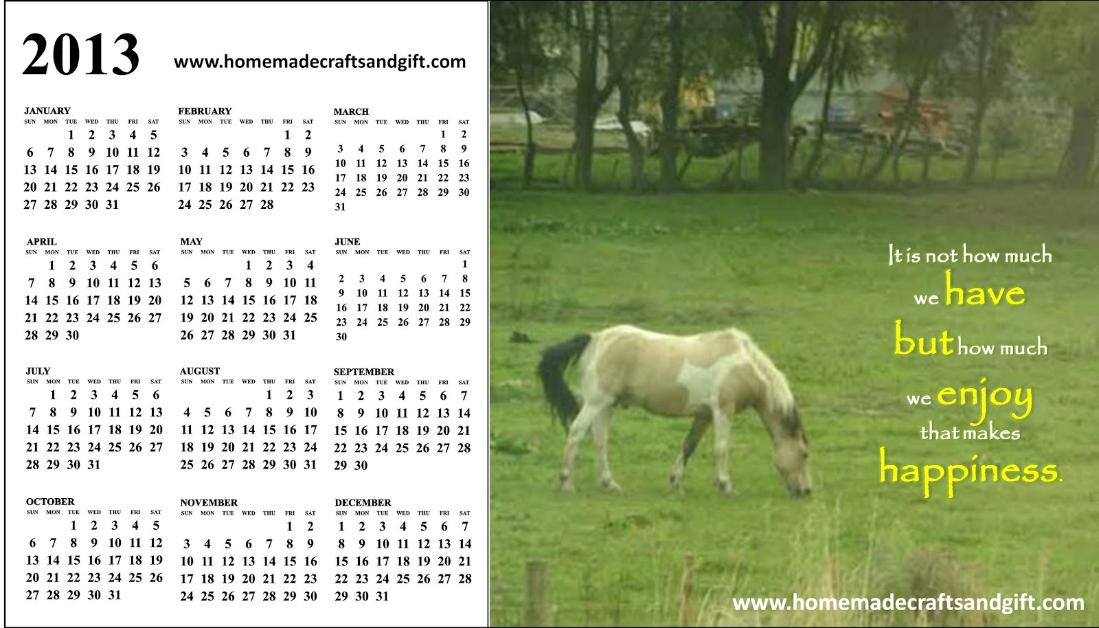 Free 2013 Calendars, Bookmarks, Cards: 2013 yearly calendar  17