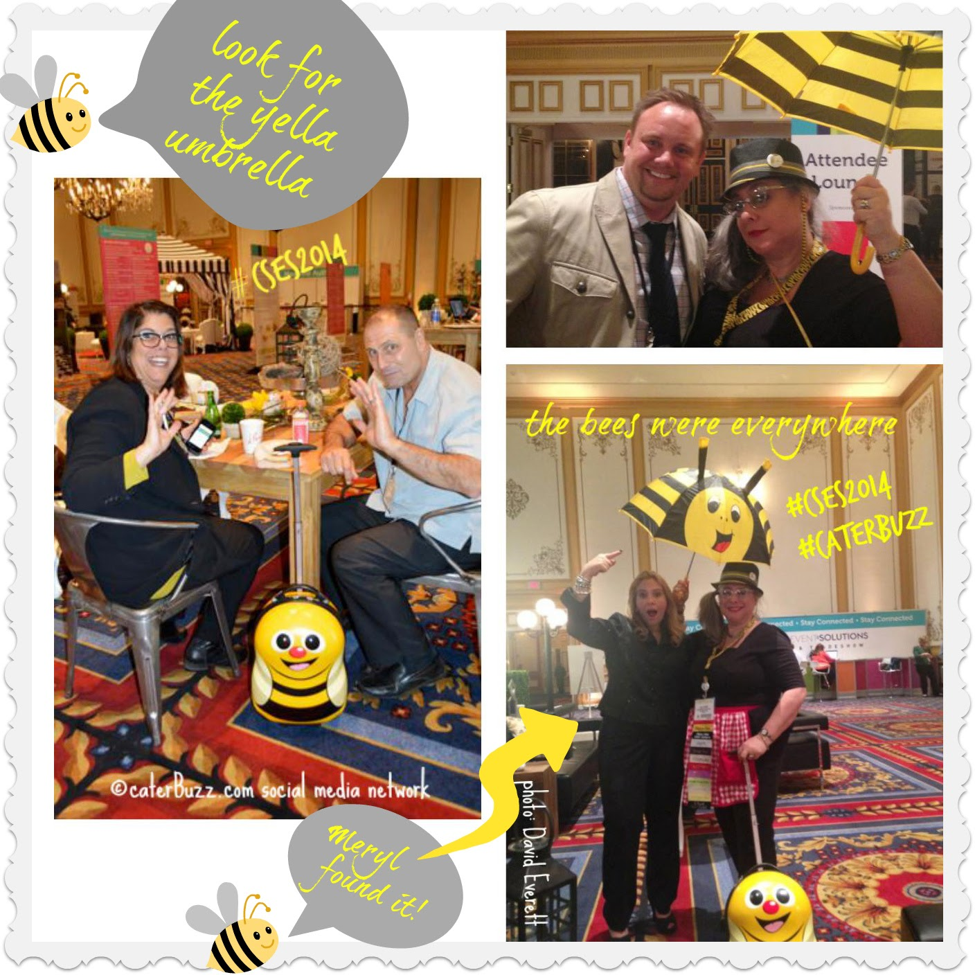 © caterBuzz.com social media network - Meryl Snow and Lisa Teiger under the Yella Umbrella with Roll-e-bee #CSES2014 Catersource Convention in Las Vegas