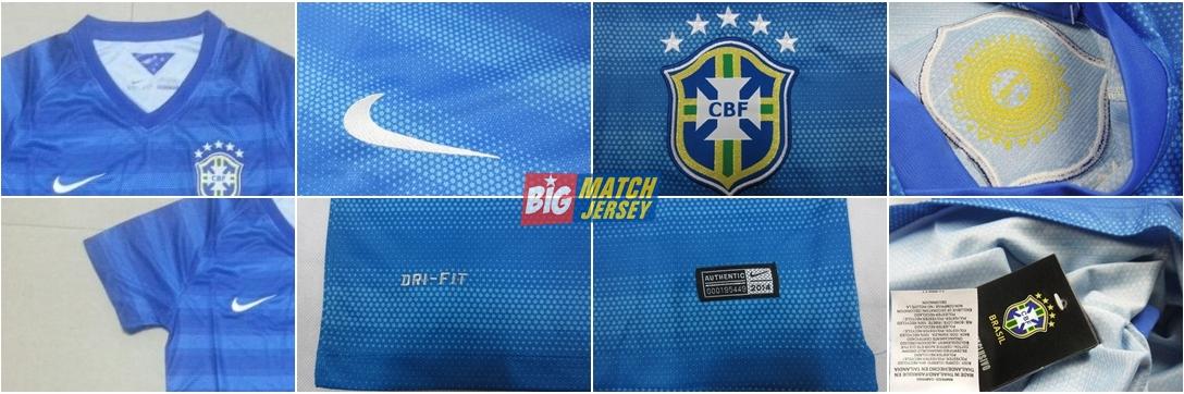 Detail Baju Kaos Jersey Bola Negara Brasil Away Ladies Piala Dunia 2014