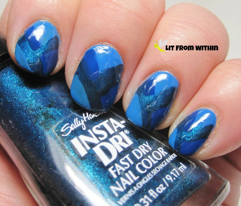 modified fishtail with Cover Girl Out Of The Blue, OPI Keeping Suzi At Bay, a medium blue jelly, and Sally Hansen Insta Dri Teal-y Fast