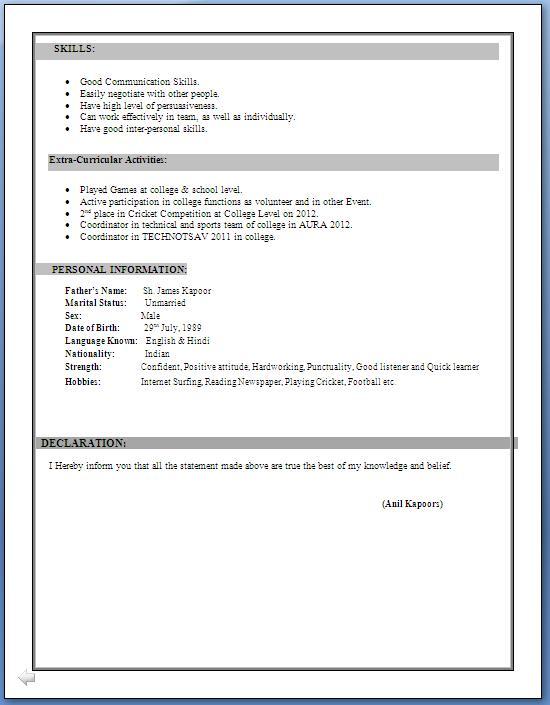 Resume Resume Format In Word For Ca Articleship Ca Inter Resume Format  Format