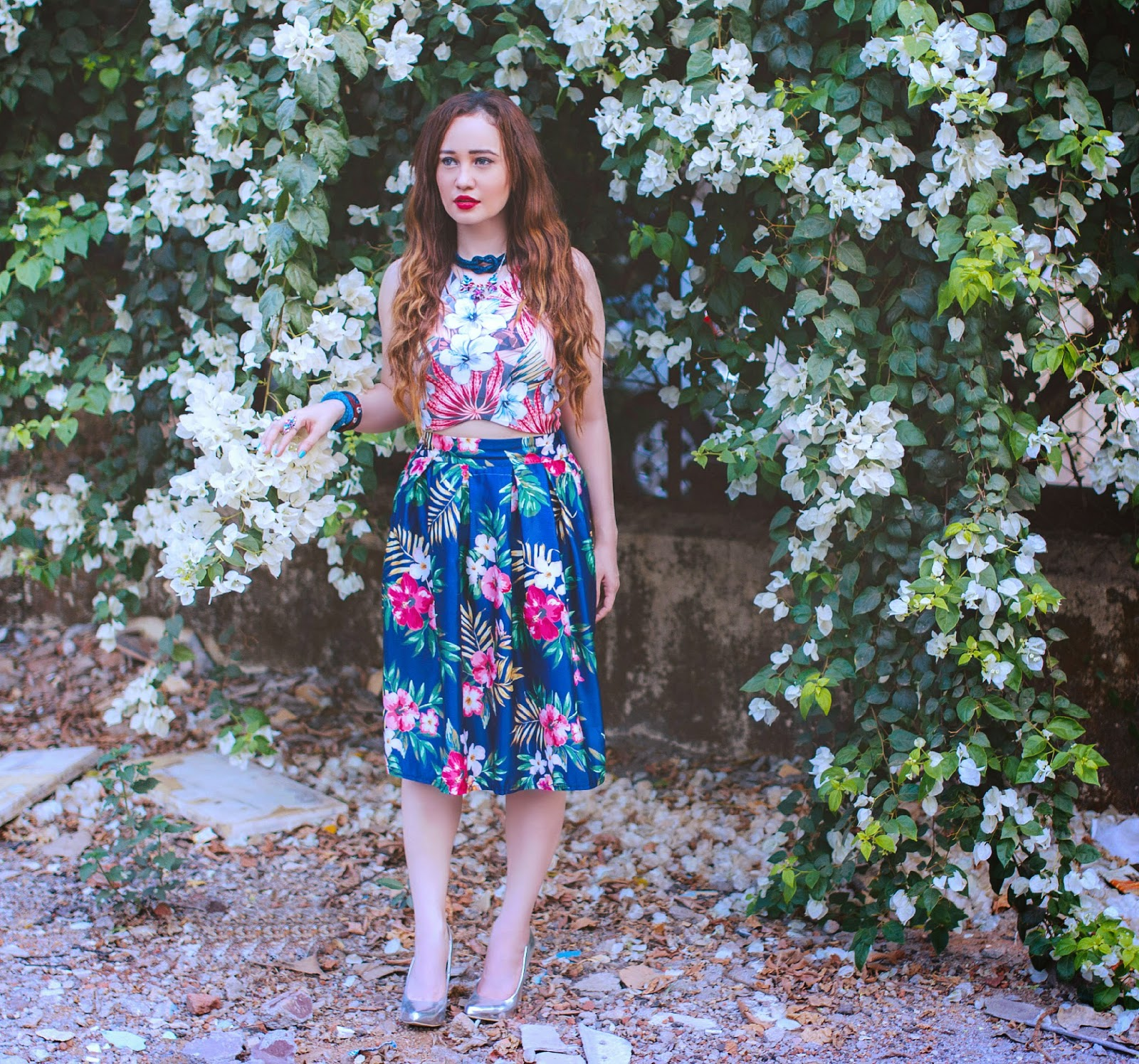 Printed floral crop top & floral midi skirt