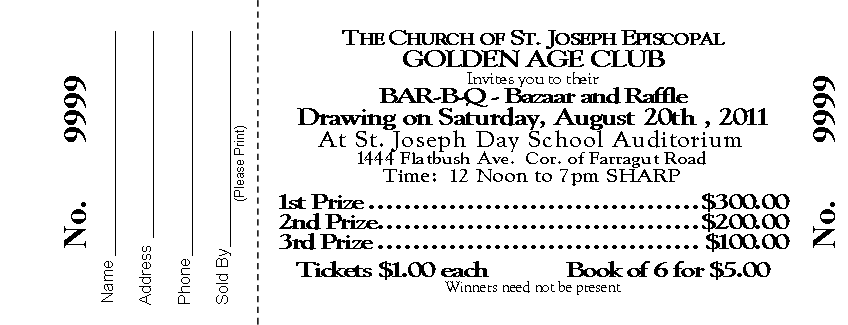 Sample Raffle Tickets For Church Pictures to Pin – Sample Raffle Tickets Template