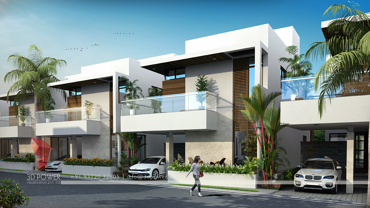 Corporate building design 3d rendering realistic for Bungalow elevations