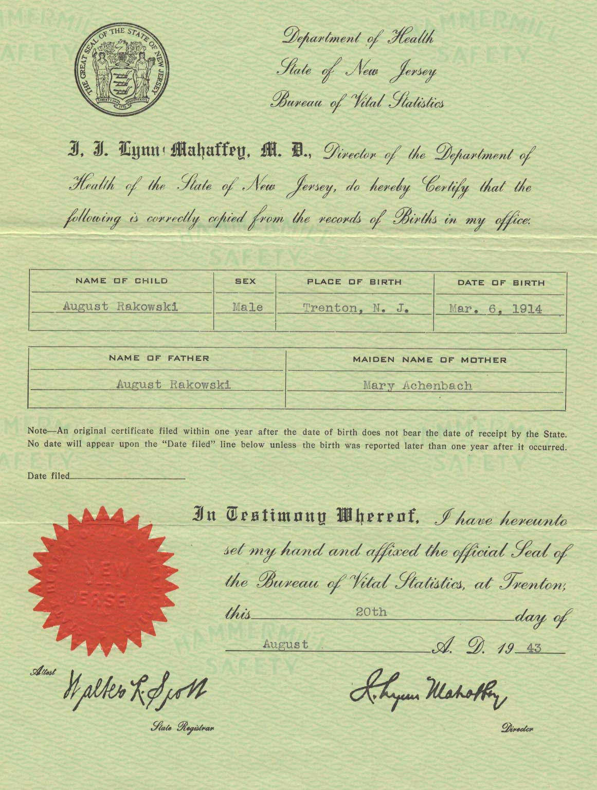 Weddings birth certificates what a news cycle for family this is the certification of birth the state of new jersey provided to my father when he requested official proof of his being born in new jersey in 1914 to aiddatafo Images