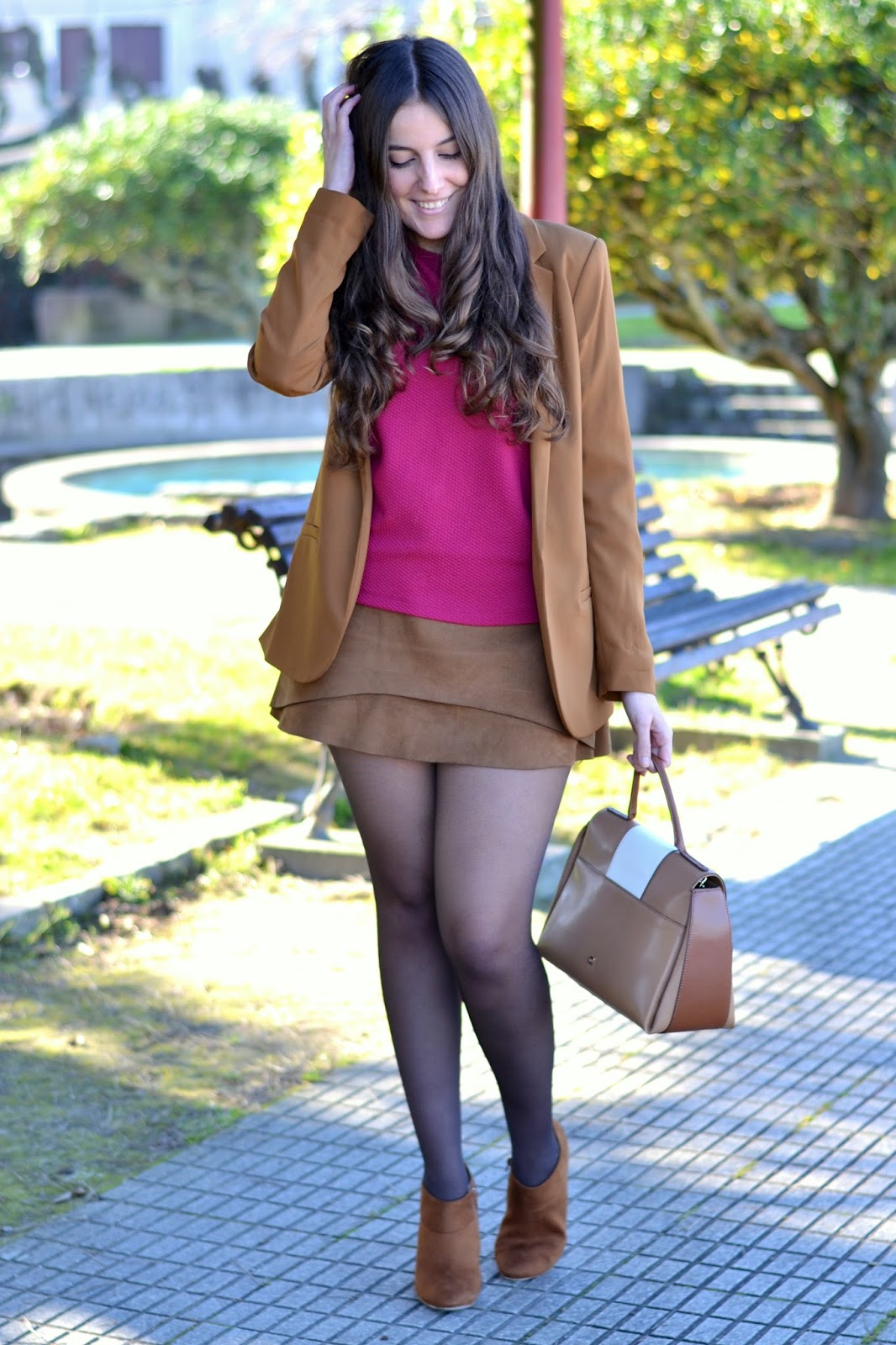 sheinside camel suede skirt