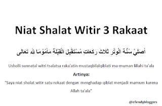 Niat Shalat Witir 3 Rakaat