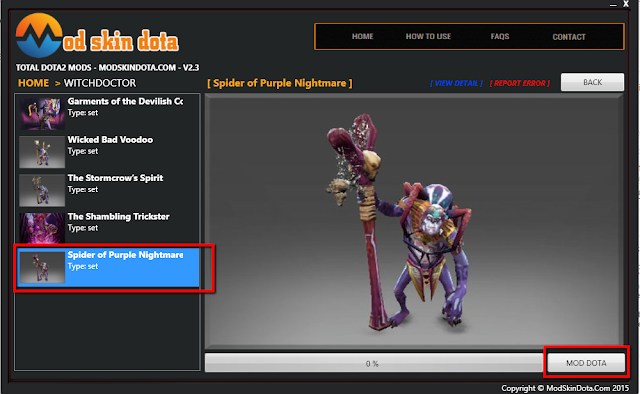 Witch Doctor Spider of Purple Nightmare set mod