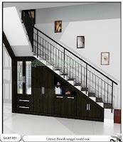Lemari bawah tangga minimalis oak