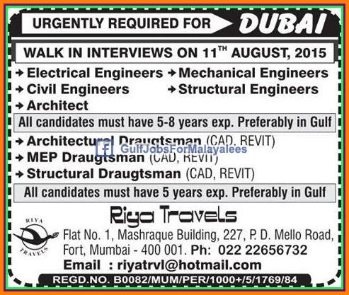 dubai large job vacancies gulf jobs for malayalees