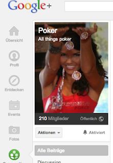 """Die Gemeinschaft """"Poker - All things poker"""" auf Google Plus hat über 200 Mitglieder."""