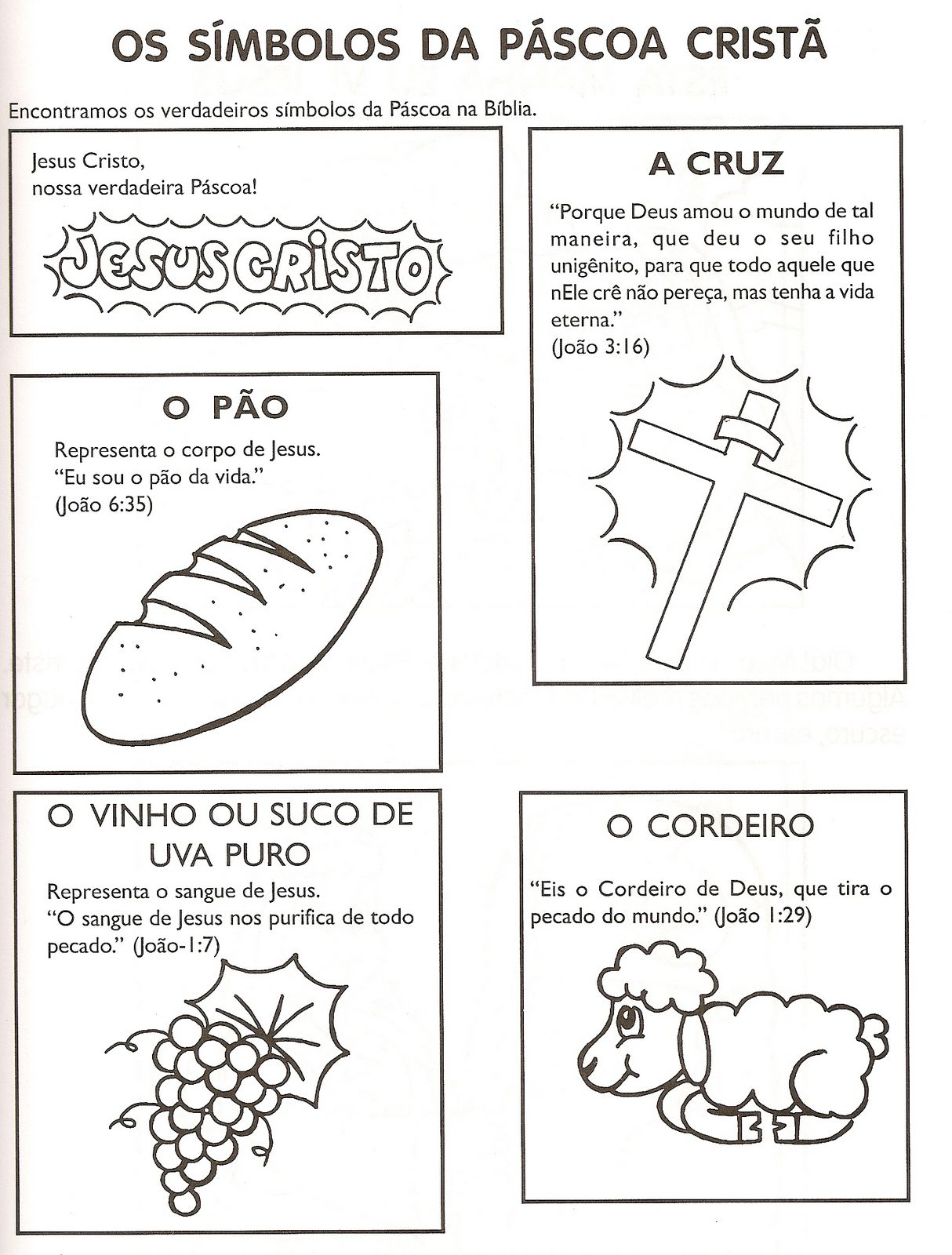 Colorir - Símbolos da páscoa cristã