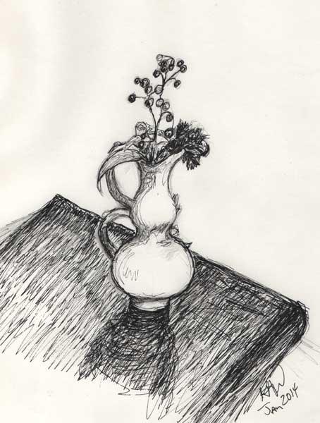 Flower Pot Pencil Drawing