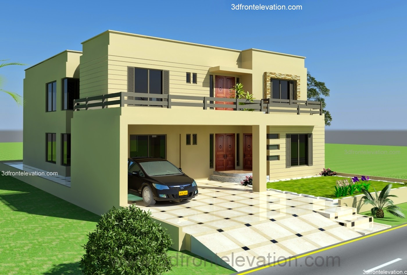 3d front design house 2 kanal 3d front elevation of house ip town lahore - Home design d apk ...