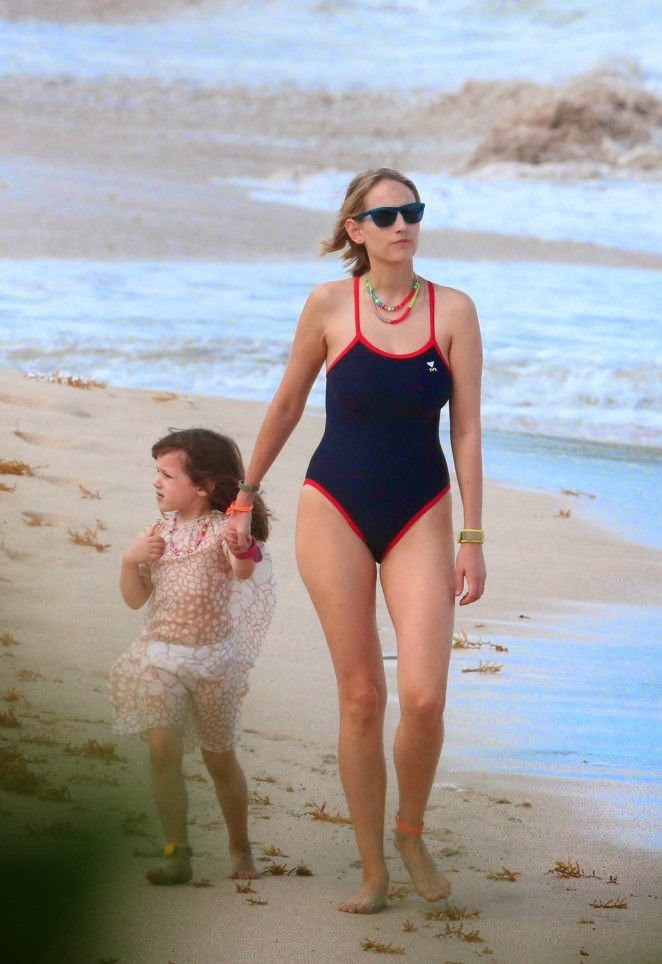 Leelee Sobieski has basically been wearing a blue swimsuit for holiday on New Year's Eve 2015 period at Saint Barthelemy on Wednesday, December 31, 2014.