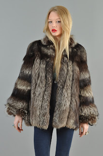 Vintage 1970's huge fluffy silver fox fur coat with natural black stripes.