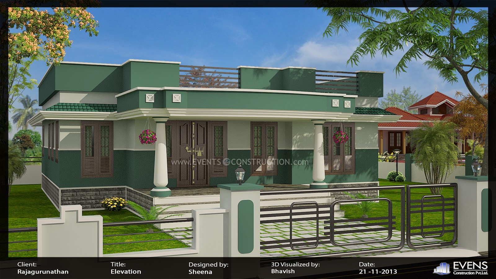 Evens construction pvt ltd march 2014 for Single floor house designs tamilnadu