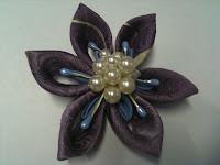 Kanzashi - Japanese fabric flowers with Bira Bira Purple+with+faux+pearls