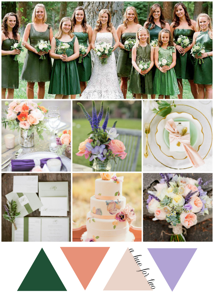 Emerald, Peach and Lavender Wedding Colour Scheme   A Hue For Two