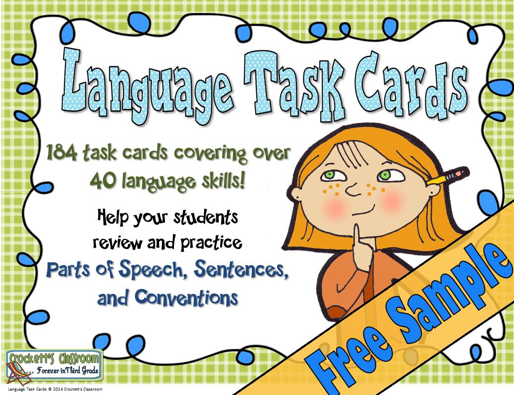 Language Task Cards, Free Sample---Crockett's Classroom