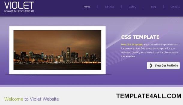 violet portfolio css web template free cms. Black Bedroom Furniture Sets. Home Design Ideas