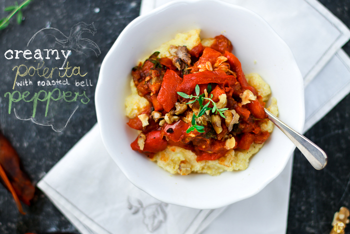 Creamy Polenta with roasted bell peppers