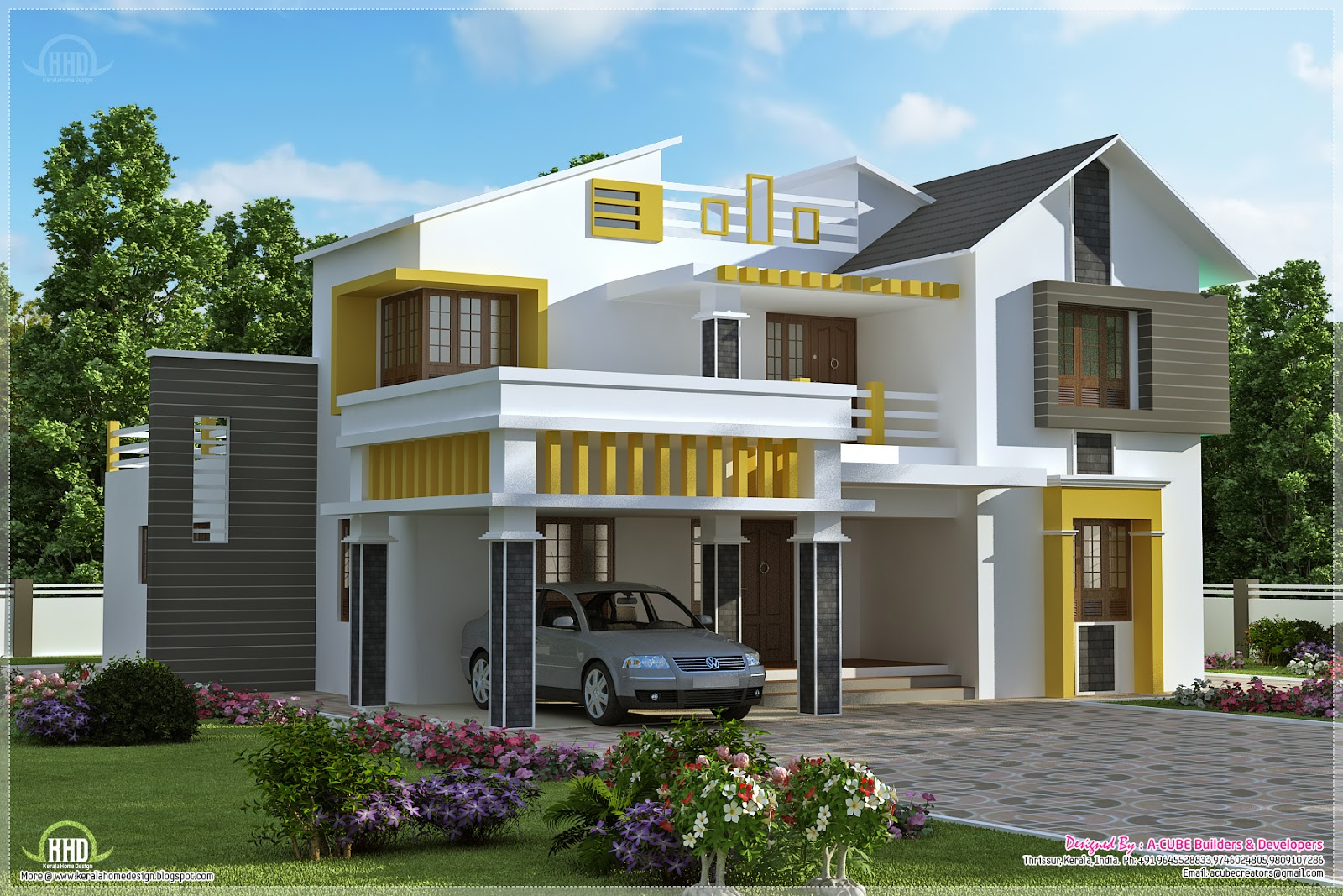 Kerala contemporary villa with 4 bedroom house design plans for Kerala style villa plans