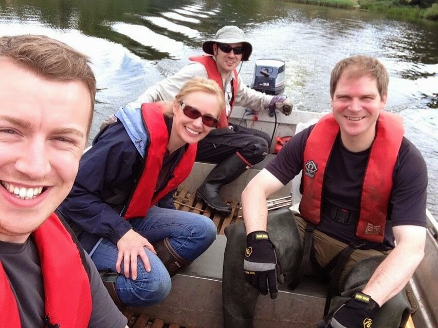 Myself (left) and my collaborators on Rostherne Mere (Prof Melanie Leng, Dr Dave Ryves and Dr Chris Vane).