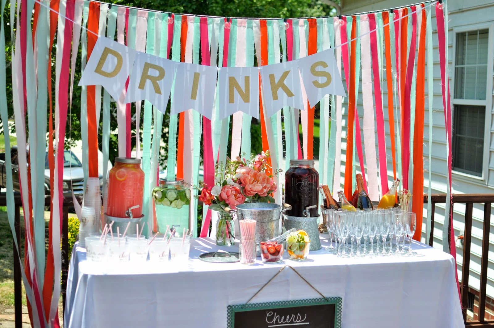 Not so newlywed mcgees bright backyard engagement party for Backyard engagement party decoration ideas