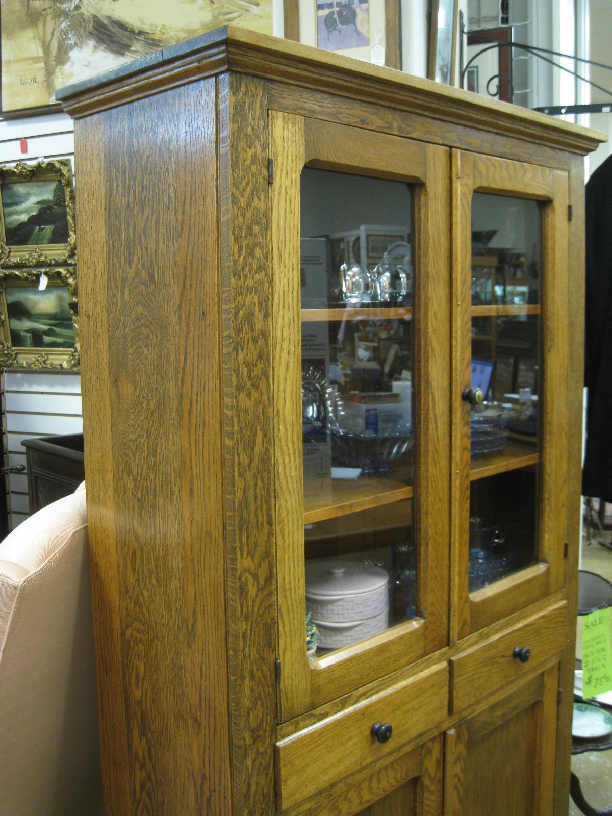 Antique Furniture China Display Cabinet Tiger Oak Pie