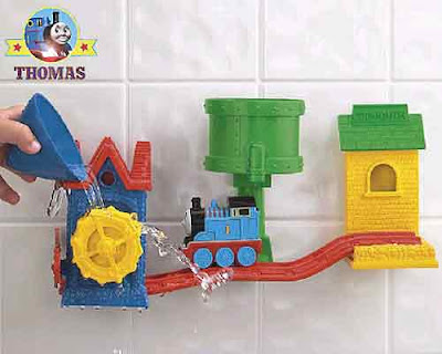 Preschool Thomas the train and friend bath tracks set racing down wet water-slide track rail rapids
