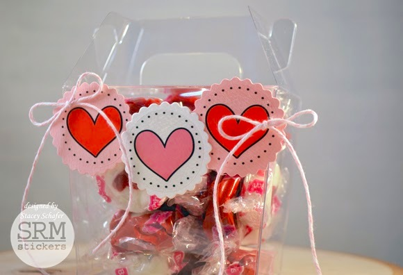 SRM Stickers Blog - Sweet Take Out Treat Box by Stacey - #clearcontainers #twine #stickers #valentine #punchedpieces