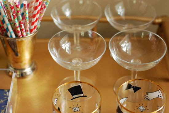 fun glasses + straws for a bar cart