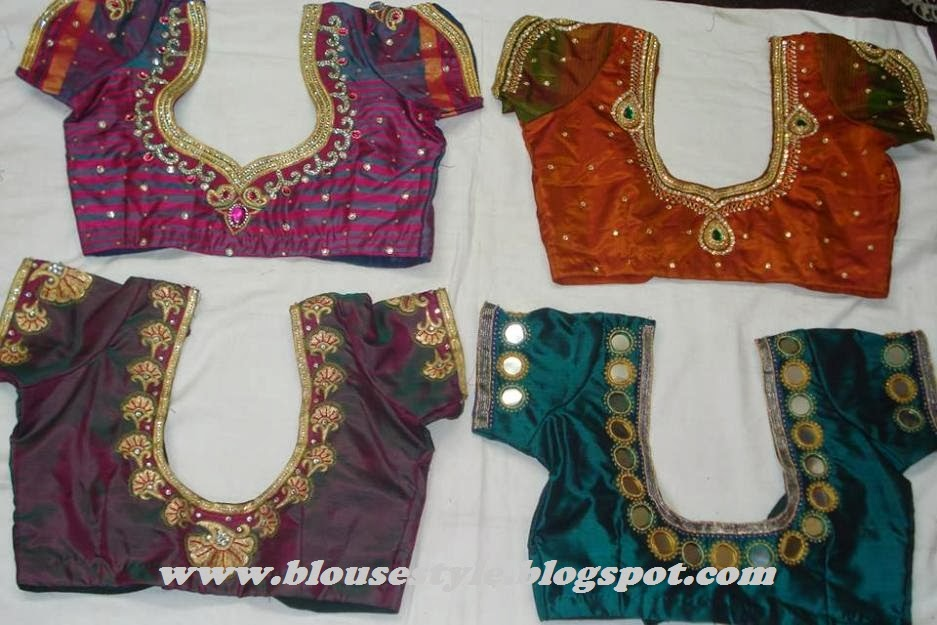 mirror work with kundan work blouse