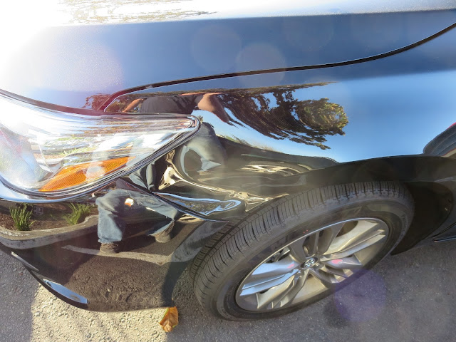 Collision damage on 2015 Toyota Camry before repairs at Almost Everything Auto Body