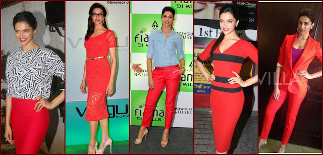 deepika in red dress, deepika padukone red fashion style, red outfit