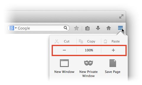 Schermata per aumentare zoom pagine su Firefox PC